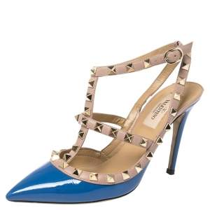 Valentino Blue Patent Leather Rockstud Ankle Strap Sandals Size 36
