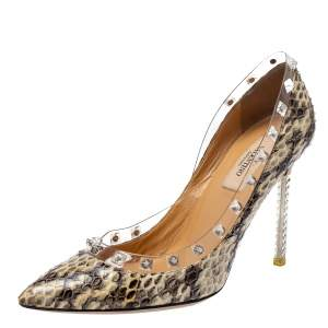 Valentino Beige Python and PVC Crystal Rockstud Pointed Toe Pumps Size 37