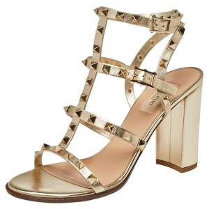 Valentino Gold Leather Rockstud Ankle Strappy Block Heel Sandals Size 39.5