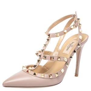 Valentino Pale Pink Leather Rockstud Caged Ankle Strap Sandals Size 37