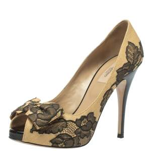 Valentino Beige/Black Lace And Raffia Bow Peep Toe Platform Pumps Size 38.5