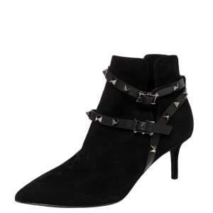 حذاء بوت فالنتينو سويدي أسود روكستد هارنس بحزام للكاحل مقاس 36.5