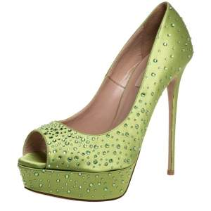 Valentino Green Satin Crystal Embellished Peep Toe Platform Pumps Size 39.5