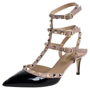 Valentino Black/Beige Patent Leather and Leather Rockstud Ankle Strap Sandals Size 36.5