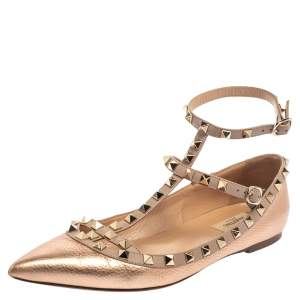 Valentino Metallic Rose Gold Leather Rockstud Ankle Strap Ballet Flats Size 40