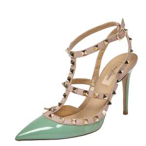 Valentino Green/Beige Patent Leather Rockstud Ankle Strap Sandals Size 37