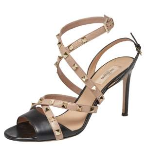 Valentino Black/Beige Leather Rockstud Strappy Open Toe Sandals Size 40