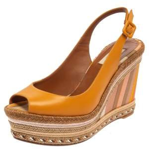 Valentino Yellow Leather Wedge Sandals Size 40