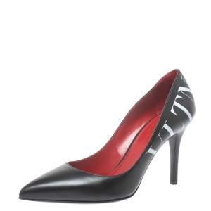 Valentino Black Leather VLTN Pointed Toe Pumps Size 35.5