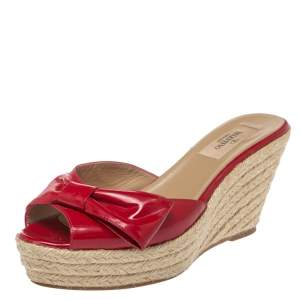 Valentino Red Patent Leather Bow Platform Espadrilles Size 38