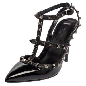 Valentino Black Patent Leather Rockstud Ankle Strap Sandals Size 37.5