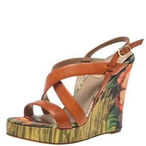 Valentino Brown Leather Cross Strap Wedge Sandals Size 39