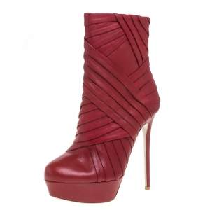 Valentino Red Leather Pleated Ankle Platform Boots Size 36