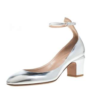 Valentino Metallic Silver Leather Tango Block Heels Ankle Strap Pumps Size 39