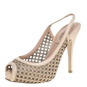 Valentino Beige Lattice Leather And Mesh Studded Slingback Platform Sandals Size 36