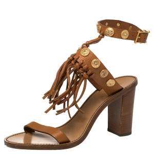 Valentino Brown Leather Studded Fringes Ankle Cuff Sandals Size 37.5