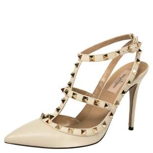 Valentino Cream Leather Rockstud Ankle Strap Sandals Size 39