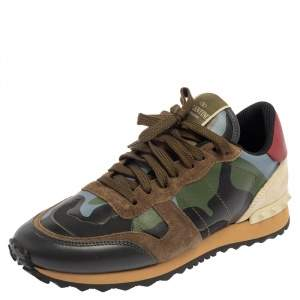 Valentino Camouflage Suede And Rockrunner Low Top Sneakers Size 40