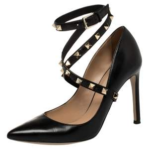 Valentino Black Leather Rockstud Pumps Size 36.5