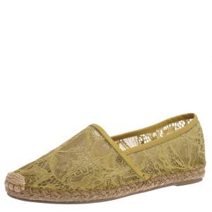 Valentino Neon Green Lace And Leather Trim Espadrille Flats Size 39