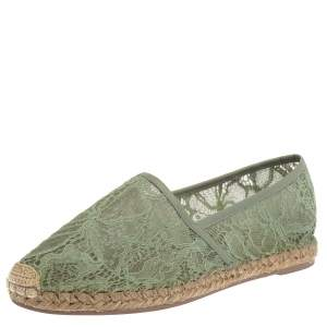 Valentino Green Lace And Leather Trim Espadrille Flats Size 39