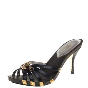 Valentino Vintage Black Leather Logo Embellished Slide Sandals Size 37.5