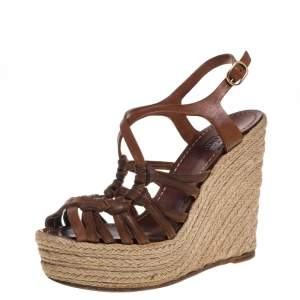 Valentino Brown Leather Espadrille Wedge Sandals Size 37
