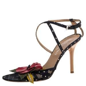 Valentino Black Satin Polka Dot Floral Embellished Ankle Strap Sandals Size 36