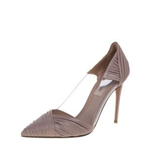 Valentino Old Rose Pink Leather and PVC B Drape Pointed Toe Pumps Size 35.5