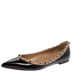 حذاء باليرينا فلات فالنتينو جلد أسود لامع روكستد مقاس 39.5