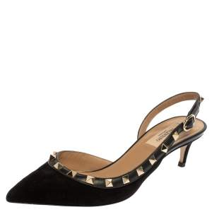 Valentino Black Suede Rockstud Pointed Toe Slingback Sandals Size 36.5