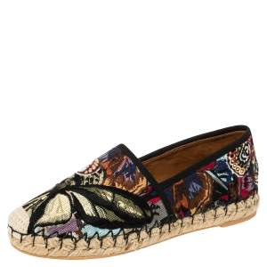 Valentino Multicolor Canvas Embroidered Espadrille Flats Size 36