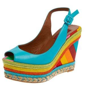 Valentino Blue Leather Peep Toe Singback Rainbow Wedge Sandals Size 36