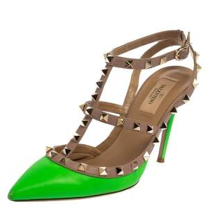 Valentino Green/Beige  Leather Rockstud  Pumps Size 38