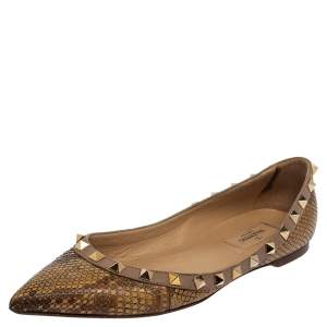 Valentino Brown/Beige Python Leather Rockstud Pointed Toe Flats Size 37