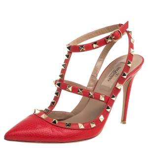 Valentino Red Leather Rockstud Ankle Strap Caged Sandals Size 38