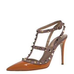 Valentino Orange Patent Leather Rockstud Pointed Toe Sandals Size 40