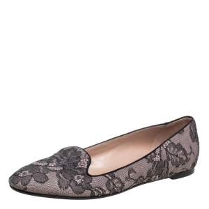 Valentino Pink/Black Lace Smoking Slippers Size 40