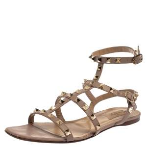 Valentino Pink Leather Rockstud Sandals Size 39