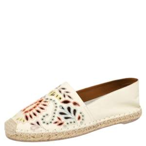 Valentino Off White Embroidered Cut Out Leather A Jour Flat Espadrilles Size 39