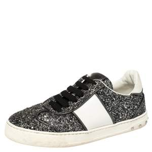 Valentino Black/White Glitter Fly Crew Low Top Sneakers Size 38