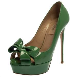 Valentino Green Patent Leather Couture Bow Peep Toe Platform Pumps Size 37