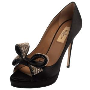 Valentino Black Satin Bow Peep Toe Pumps Size 38