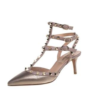 Valentino Metallic Bronze  Leather Rockstud Sandals Size 36