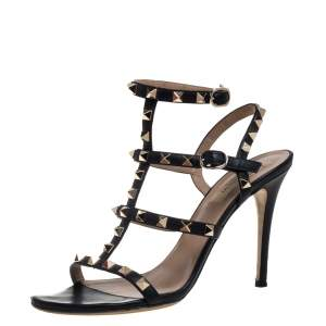 Valentino Black Leather Rockstud  Sandals Size 37.5