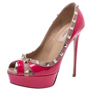 Valentino Pink/Beige Patent Leather Rockstud Criss Cross Peep Toe Pumps Size 37