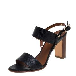 Valentino Black Leather Rockstud Open Toe Slingback Sandals Size 38