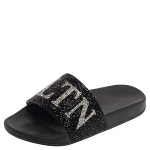 Valentino Black Crystal Logo Slide Sandals Size 39
