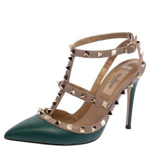 Valentino Green/Beige Leather Rockstud Sandals Size 36