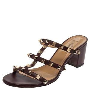 Valentino Burgundy Leather Rockstud Slide Sandals Size 39